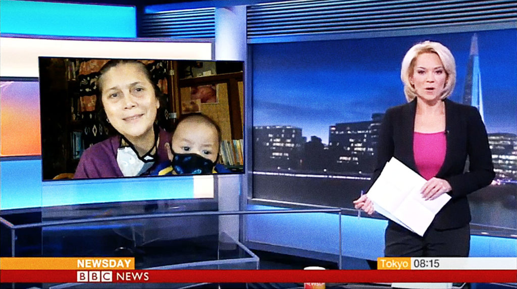 Ibu Robin & baby Bumi discuss the Gunung Agung crisis on the BBC